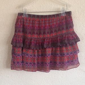 Express mini skirt tier ruffle medium pink purple
